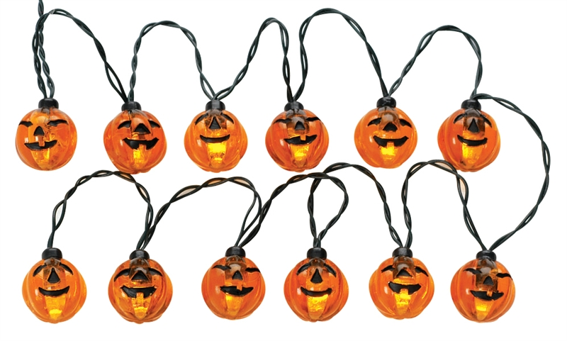 12 Lighted Pumpkin Garland String Lemax Village