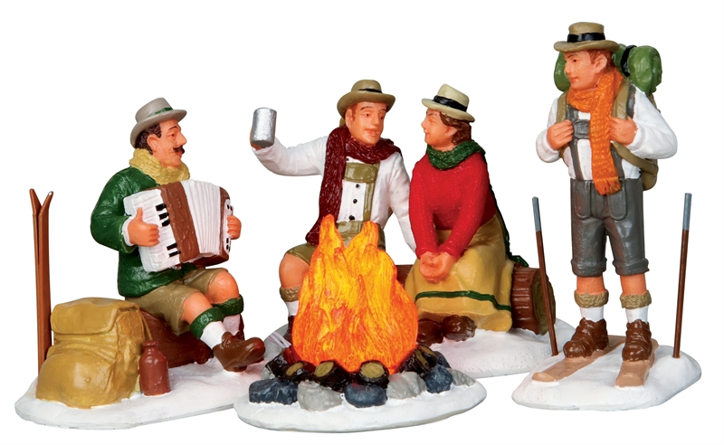 Alpine Ski Party, Set Of 4 Lemax Village