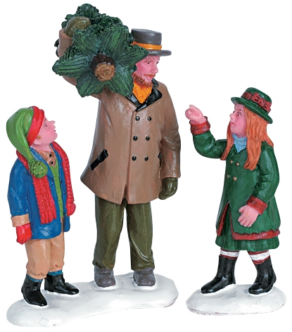 Capturing The Christmas Tree, Set Of 2 Lemax Village