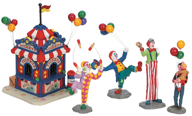 Carnival Ticket Booth With Figurines, Set Of 5 Lemax Village