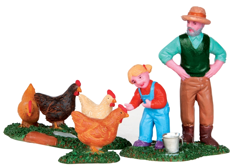 Chicken Feeding, Set Of 3 Lemax Village