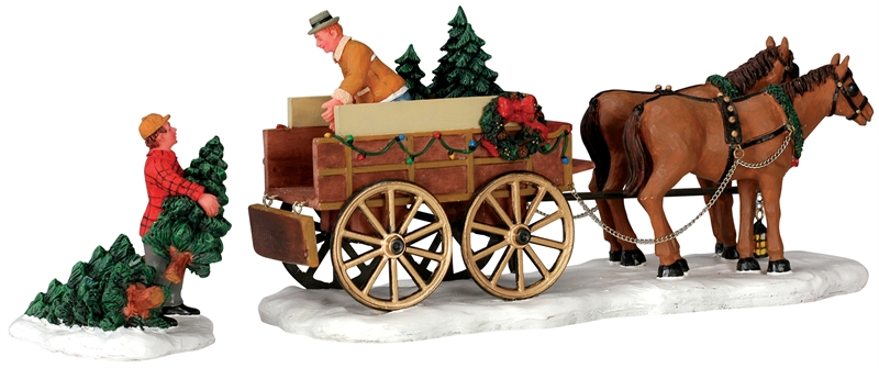Christmas Tree Wagon, Set Of 2 Lemax Village