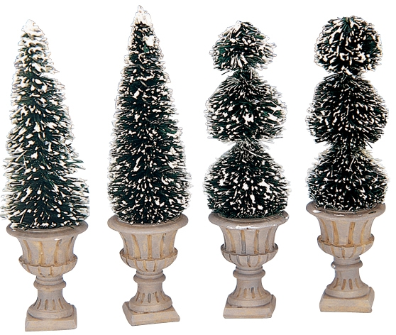 Cone-shaped & Sculpted Topiaries, Set Of 4 Lemax Village