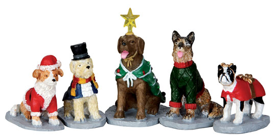 Costumed Canines  Set Of 5 Lemax Village