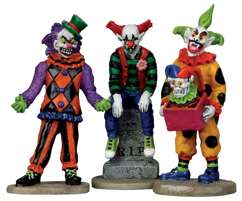 Evil Sinister Clowns, Set Of 3 Lemax Village