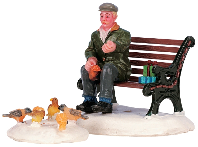 Feeding Pigeons, Set Of 2 Lemax Village