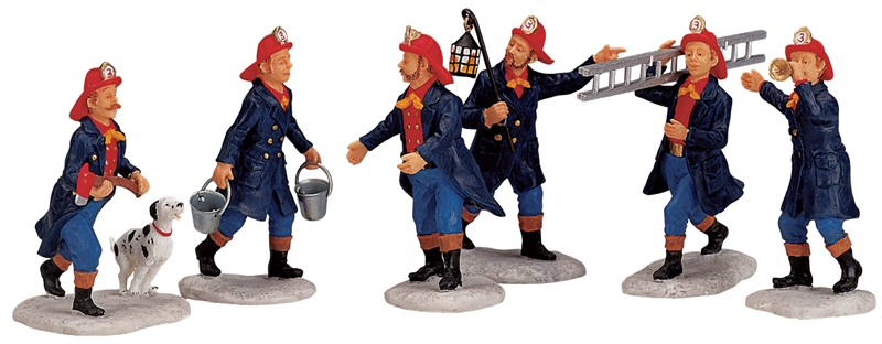 Fireman, Set Of 6 Lemax Village
