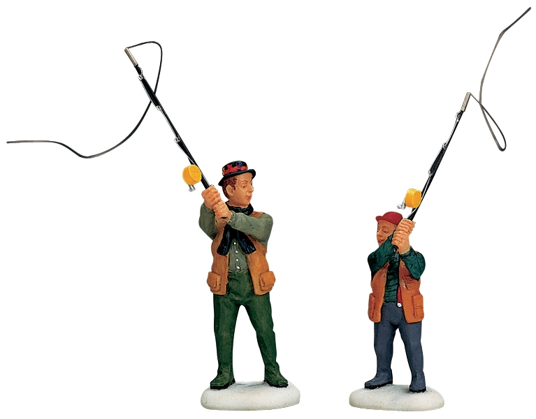 Flyfishing With Dad, Set Of 2 Lemax Village