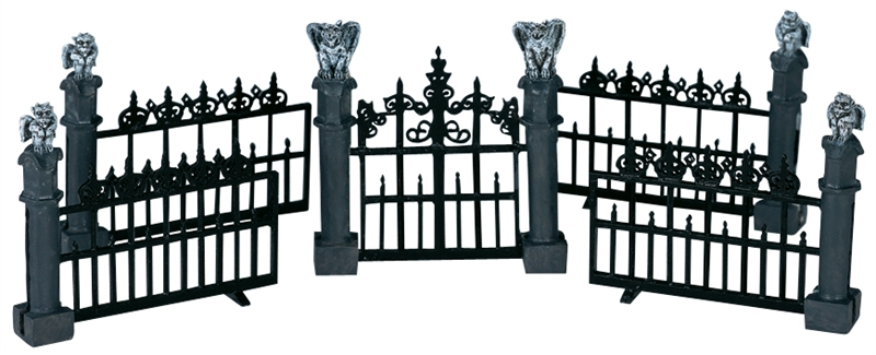Gargoyle Fence, Set Of 5 Lemax Village