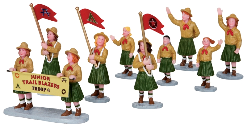 Girl Scout Parade, Set Of 9 Lemax Village