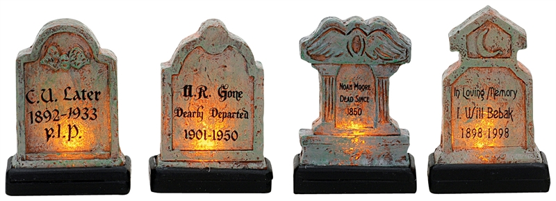 Illuminated Tomb Stones, Set Of 4 Lemax Village