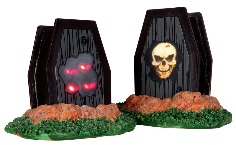 Light Up Coffins, Set Of 2 Lemax Village