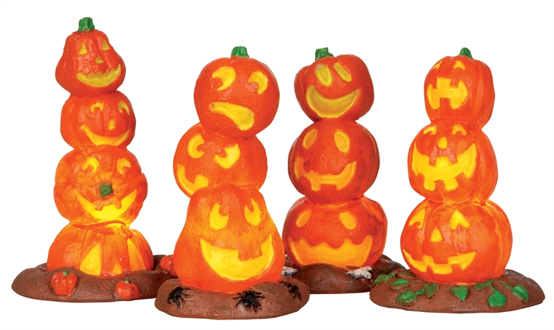 Light-up Pumpkin Stack, Set Of 4 Lemax Village