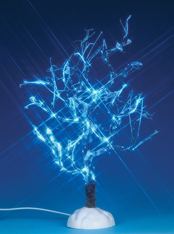 Lighted Ice Glazed Tree, Blue Lemax Village