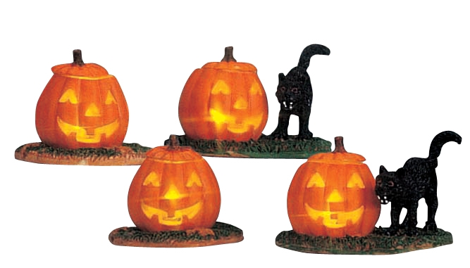 Lighted Pumpkin, Set Of 4, With Black Cats Lemax Village
