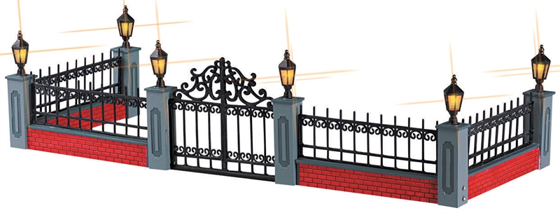 Lighted Wrought Iron Fence, Set Of 5 Lemax Village