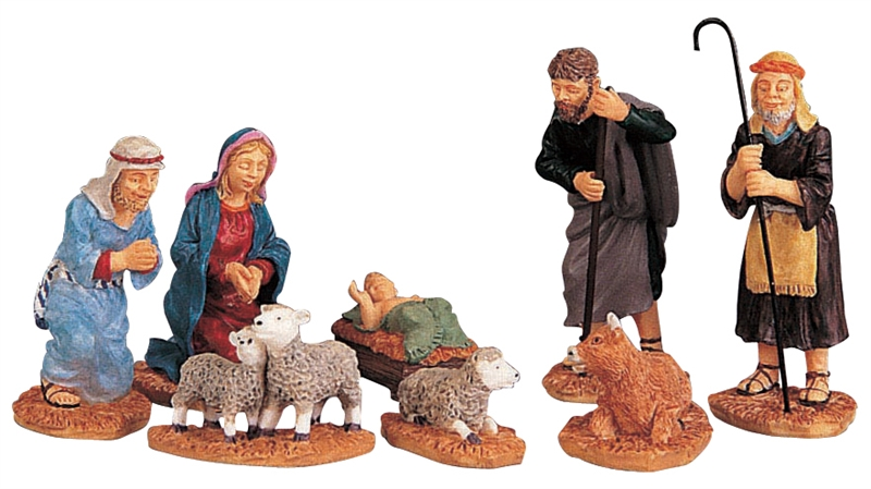 Nativity Figurines, Set Of 8 Lemax Village