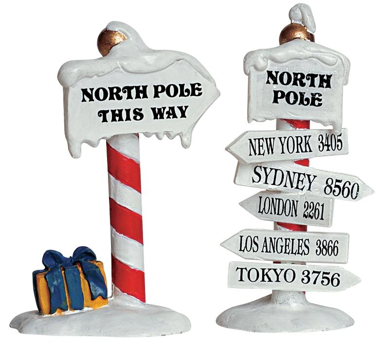 North Pole Signs, Set Of 2 Lemax Village