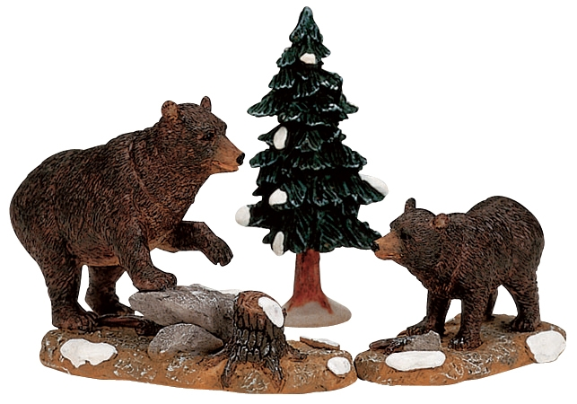 Papa Bear With Cub, Set Of 3 Lemax Village