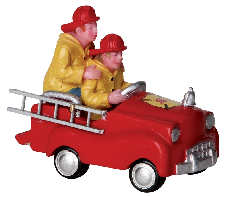 Pedal Car Firemen Lemax Village