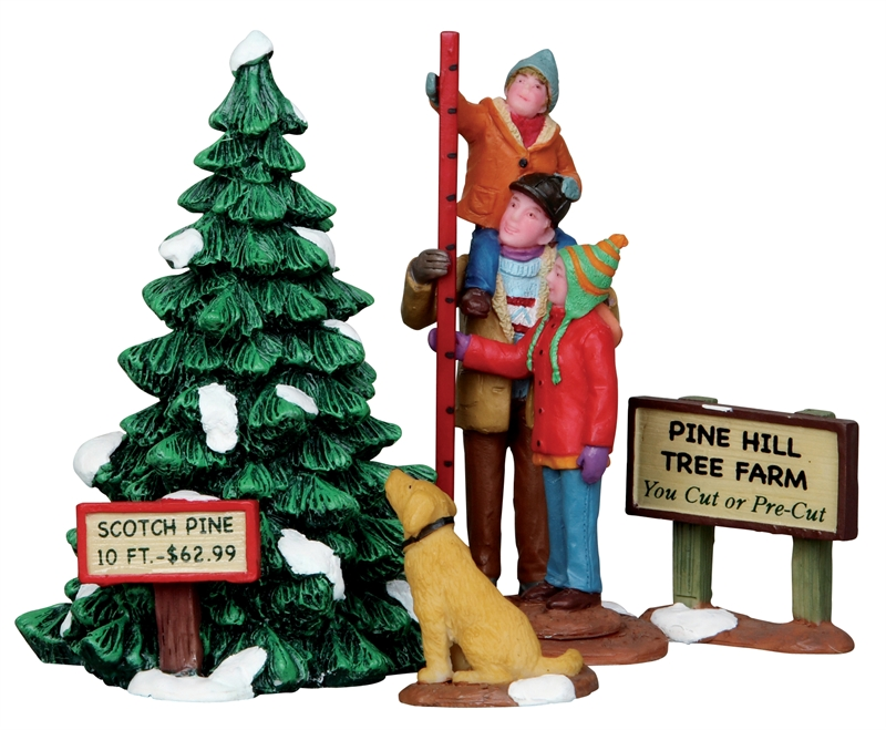 Picking The Tallest Tree, Set Of 4 Lemax Village