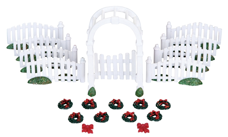 Plastic Arbor & Picket Fences With Decorations, Set Of 20 Lemax Village