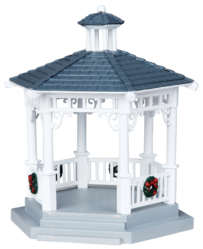 Plastic Gazebo With Decorations, Set Of 6 Lemax Village