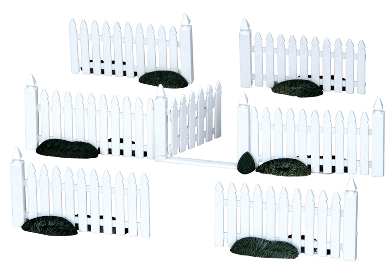 Plastic Picket Fence, Set Of 7 Lemax Village