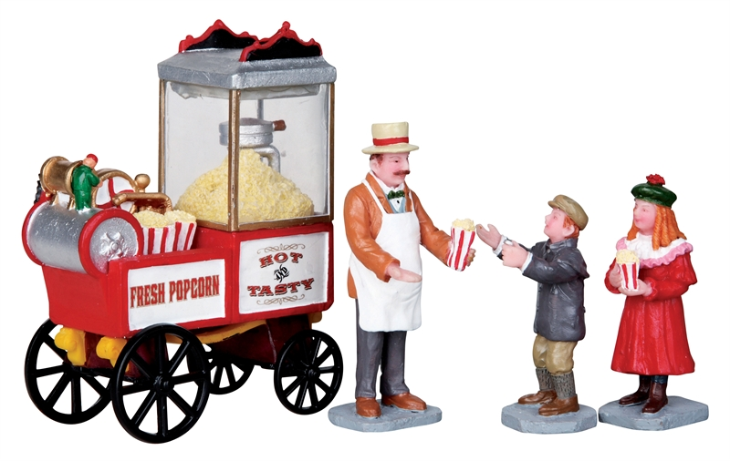 Popcorn Seller, Set Of 4 Lemax Village