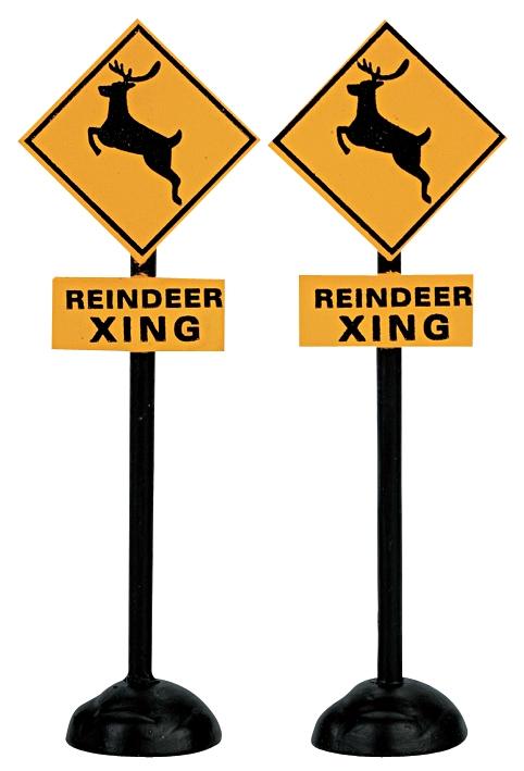 Reindeer Crossing Signs, Set Of 2 Lemax Village