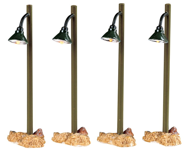 Rustic Street Lamp, Set Of 4 Lemax Village