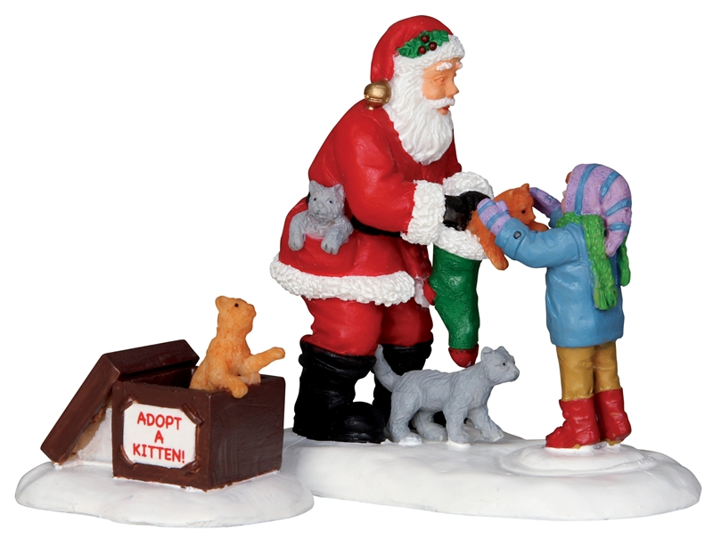 Santa And Kittens, Set Of 2 Lemax Village