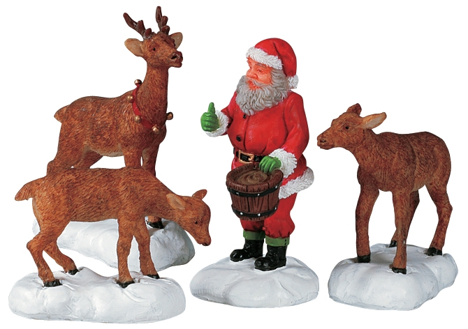 Santa Feeds Reindeer, Set Of 4 Lemax Village