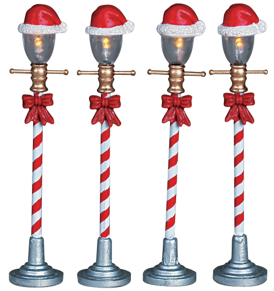 Santa Hat Street Lamp, Set Of 4 Lemax Village