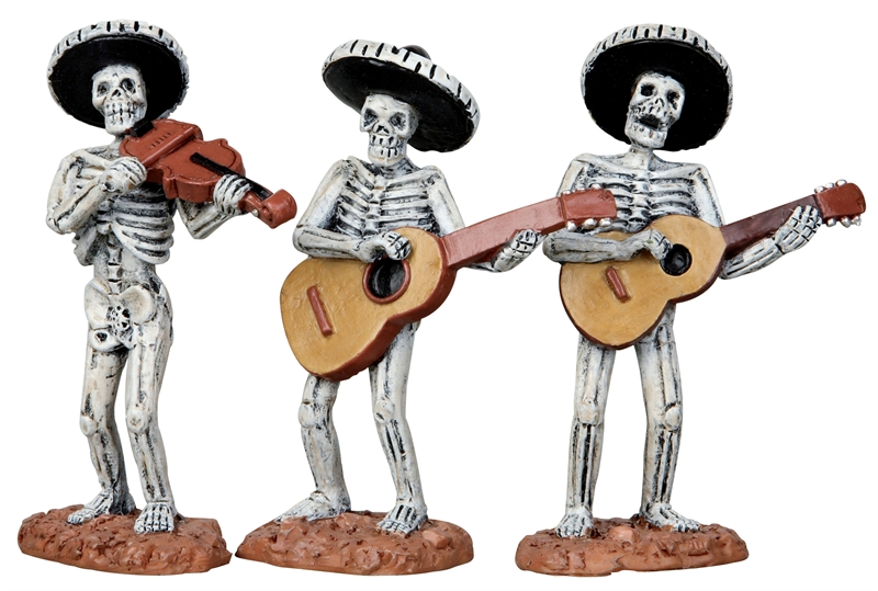 Skeleton Mariachi Band, Set Of 3 Lemax Village