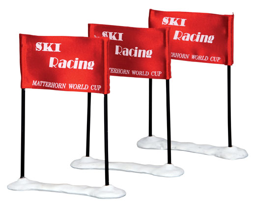 Ski Racing Flag  Set Of 3 Lemax Village
