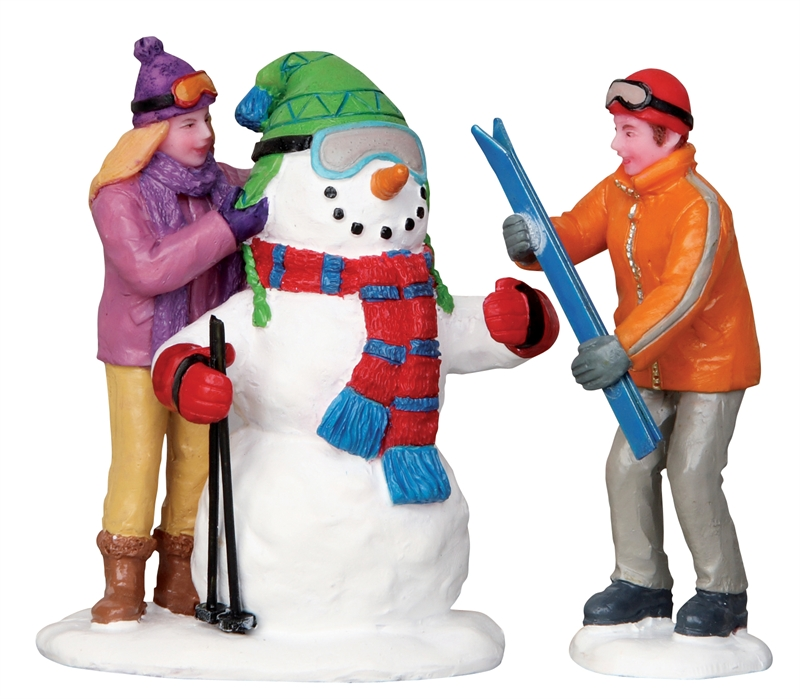 Skier Snowman, Set Of 2 Lemax Village