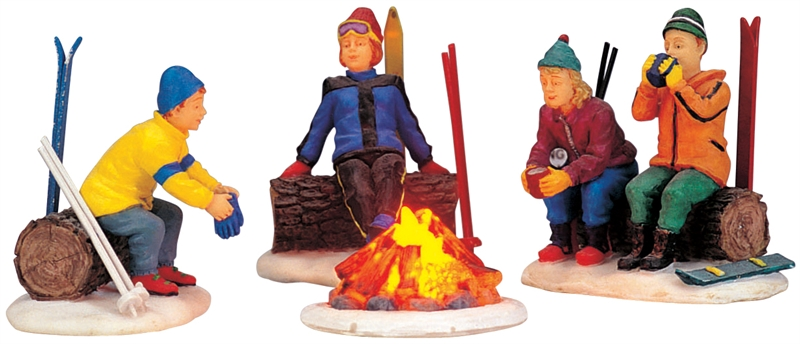 Skiers' Camp Fire, Set Of 4 Lemax Village