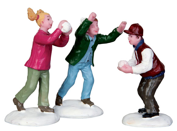 Snowball Fight  Set Of 3 Lemax Village