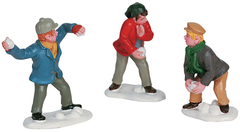 Snowball Fight, Set Of 3 Lemax Village