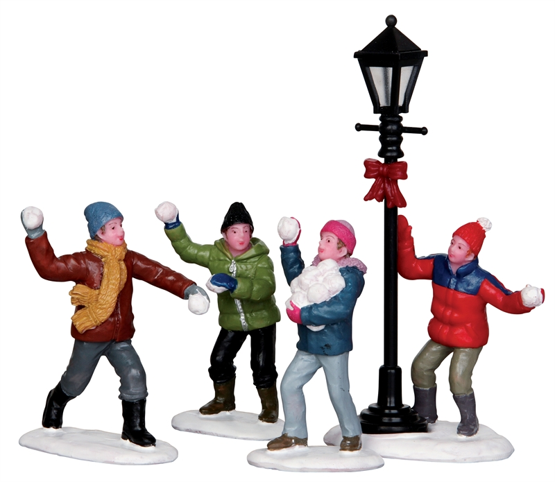 Snowball Fight, Set Of 4 Lemax Village