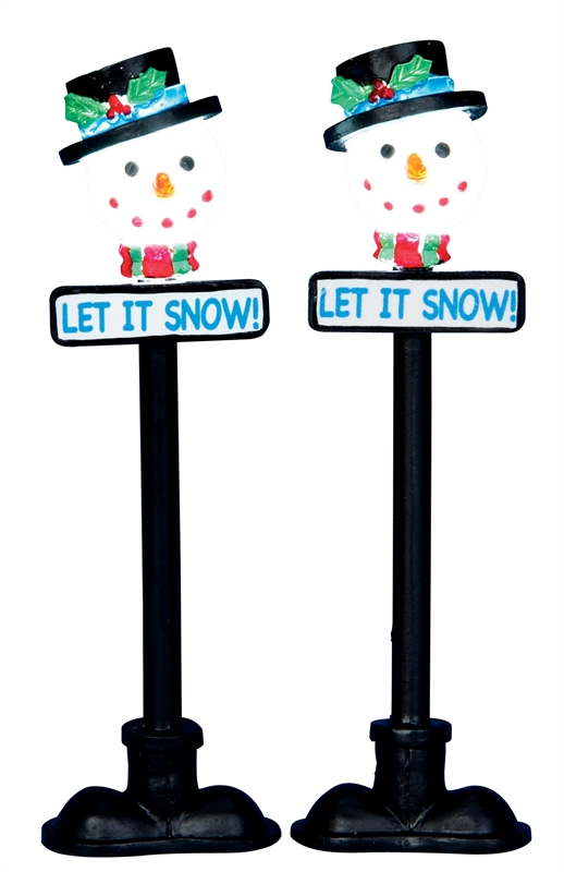 Snowman Street Lamp, Set Of 2 Lemax Village