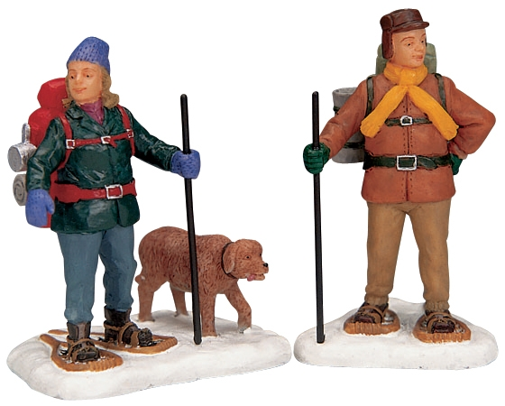 Snowshoe Backpackers, Set Of 2 Lemax Village