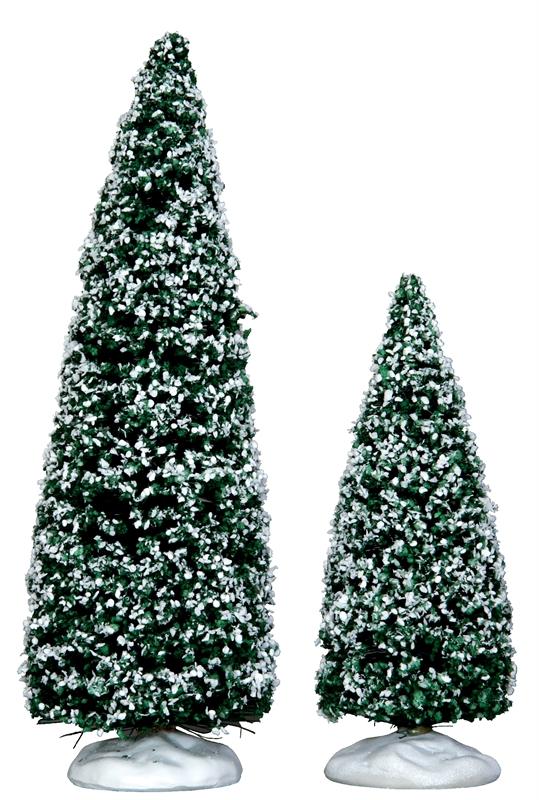 Snowy Juniper Tree, Medium & Small, Set Of 2 Lemax Village