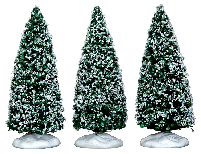 Snowy Juniper Tree, Small, Set Of 3 Lemax Village