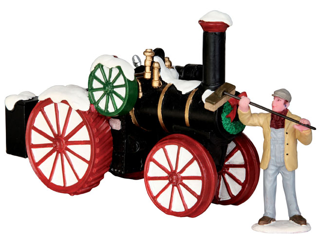 Snowy Steam Tractor  Set Of 2 Lemax Village