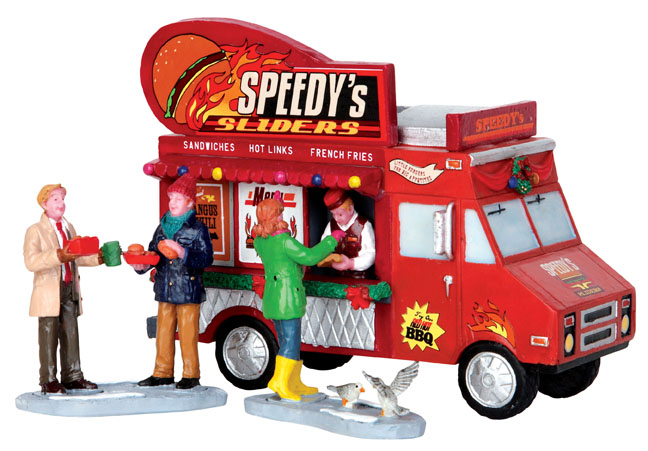 Speedy's Sliders Truck  Set Of 3 Lemax Village