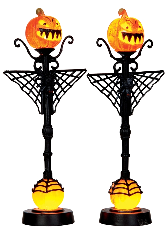 Spiderweb Jack O'lamp Post, Set Of 2 Lemax Village