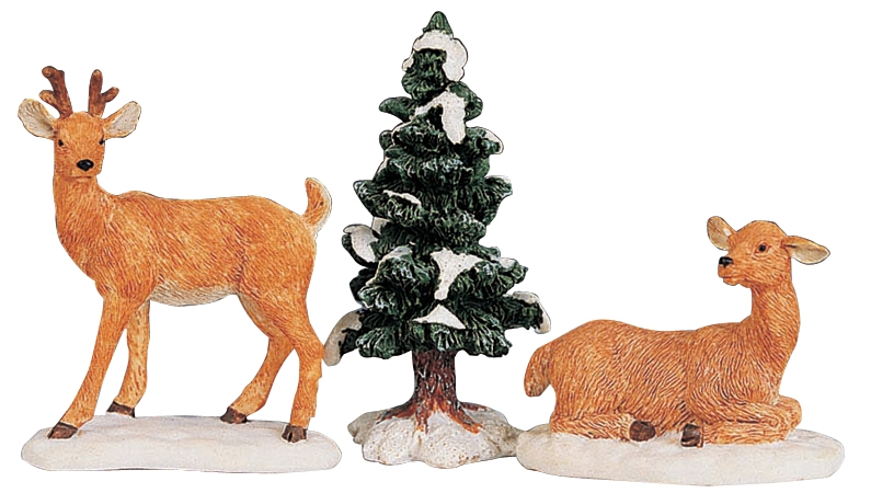 Stag And Doe, Set Of 3 Lemax Village