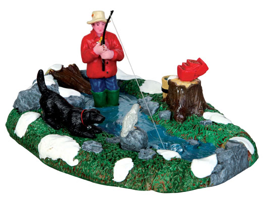 Stream Fishing  Set Of 3 Lemax Village